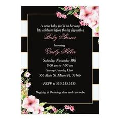 Black Pink Flowers Stripes Baby Shower Invitation Custom #babyshower invitations - Make your special day with these personalized #baby #shower #invitations change the colors font and images and make them your own.