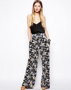 ASOS Floral Printed Wide Leg Trousers