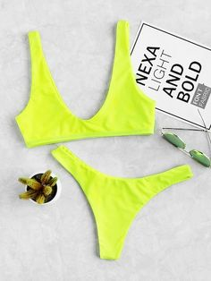 Romwe Sport Neon Green Plunge Neckline Vest Bikini With High Leg Bottom Women Bikini Sets Plain Swimsuit Beach Sexy Swimwear. Robert Kardashian, Khloe Kardashian, Kardashian Kollection, Kendall Jenner Moda, Kris Jenner, Neon Bikinis, Bikini Swimwear, String Bikinis, Bikini Sets