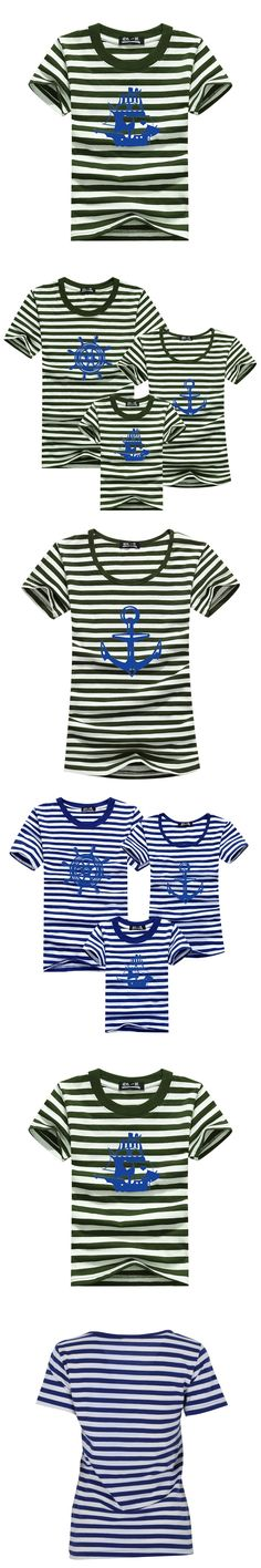 Family Matching Clothing Outfits For Mother Kids And Father Tops Short Sleeve Striped T-shirt Family Clothing