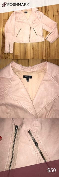 Torrid blush colored zippered jacket Such a fun color! Faux/vegan leather. Size 2x. In great preloved condition. Some minor wear due to light color, but machine washable! Smoke free home. torrid Jackets & Coats