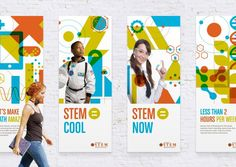 Mobile Environmental GraphicsA series of larger than life banners were produced to provide a backdrop to accompany STEM oriented speaking engagements.