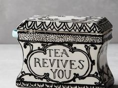 Anthropologie Molly Hatch Sketched Story Tea Box Canister With Spoon New