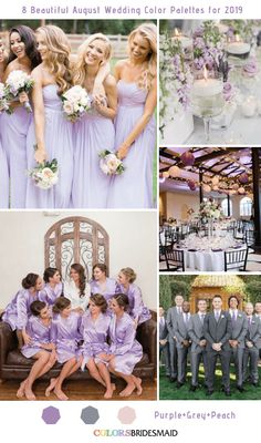 8 Beautiful August Wedding Color Palettes for 2019 Purple Grey and Peach wedding colors Lilac Wedding Colors, Grey Purple Wedding, September Wedding Colors, Grey Wedding Theme, Summer Wedding Colors, Dream Wedding, August Wedding Flowers, Lavender Wedding Theme, Lavender Weddings