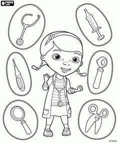 Dottie, Doc McStuffins with the medical instruments coloring page