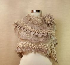 Angel Heart / Luxury Crochet Bridal Shawl Champagne by lilithist, $175.00