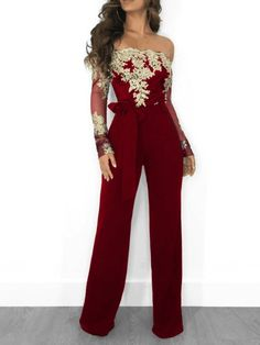 Sexy Elegant Off Shoulder Floral Embroidery Lace Jumpsuit Women Sheer Long Sleeve Fitted Romper Wide Leg Pants Macacao Feminino - Burgundy / XL Asos Jumpsuit, Burgundy Jumpsuit, Sequin Jumpsuit, Formal Jumpsuit, Bodycon Jumpsuit, Strapless Jumpsuit, Jumpsuit Outfit, Sparkly Jumpsuit, Cotton Jumpsuit