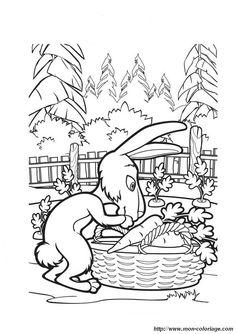 Masha and The Bear Rabbit Coloring Page Wallpaper HD