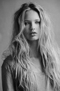 Messy long hair