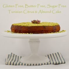 Gluten Free, sugar free, and butter free Tunisian Citrus and Almond Cake. Its also a one bowl cake. Get the recipe now. Guiltless dessert. I had no idea a gluten free cake could taste so good.  You can't beat that!