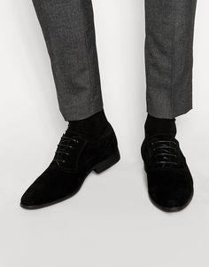 ASOS | ASOS Oxford Shoes in Black Faux Suede at ASOS