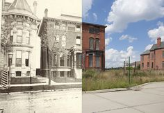 Brush Park, 1881 and 2013. Brush Park was once home to Detroit's wealthy elite, a neighborhood of Gilded Age and Victorian homes that covered over 20 blocks. As the city expanded through the early 1900's, Brush Park's residents moved to outlying areas, and the neighborhood became a rundown slum. Today about 70 of the original 300 homes remain. While many of the homes have been lost, some of have been restored, and others like the one above are stabilized and are awaiting restoration.