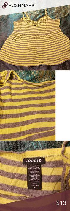 Torrid babydoll tank plus size 4X Yellow and gray striped babdydoll tank.  Tshirt material super comfy..a little pilling but not really noticeable..the second photo shows a close up of the pilling just around the top. One of my favorite go to tops. Torrid Tops