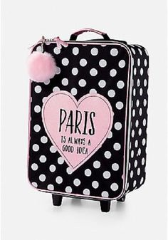 Justice Girls PARIS IS ALWAYS A GOOD IDEA Polka Dot Suitcase New with Tags #Justice