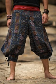 Amazing Unique High Cut Harem Pants made from fairtrade beautiful traditional hill tribe fabric from the North of Thailand. With open-side legs and ankle cuffs with adjustable straps, you can move freely while practicing yoga, doing the split, or chasing