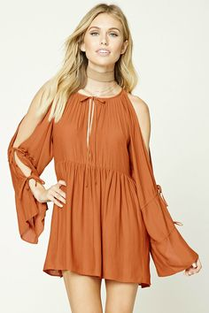 Forever 21 Contemporary - A textured woven swing dress featuring a tie-neck, a keyhole front, long bell sleeves with ties, and an open-shoulder design.