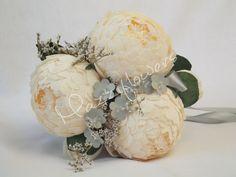 Bridal bouquet,paper flower,bridesmaids bouquet,wedding bouquet,paper flower bouquet,paper flower peony,peonies cream,bridal flower,bouquet