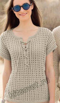 Летний женский пуловер со шнуровкой красивым ажурным узором спицами со схемой и бесплатным описанием вязания.