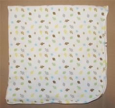 just born white green brown yellow leaf thermal waffle weave baby blanket leaves