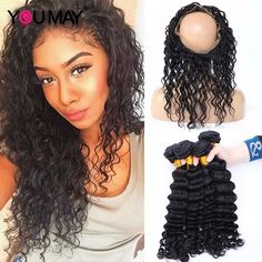 131.20$  Buy now - http://alirgt.worldwells.pw/go.php?t=32706710158 - Pre Plucked 360 Lace Frontal With Bundles Brazilian Deep Wave 7A Lace Frontal Closure With Bundles 360 Frontal With 2 Bundles  131.20$