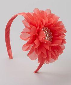 Loving this Coral Flower Headband on #zulily! #zulilyfinds