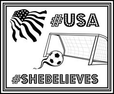 FREE USA Women's Soccer Printable Coloring Page #USA #SheBelieves