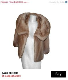 This luscious mink stole has full on 60s Rat Pack glamour. Perfectly matched tan pelts show the quality of this piece. Double collar style with large rounded collar and another piece close to the neck for extra warmth.  #vintagefur