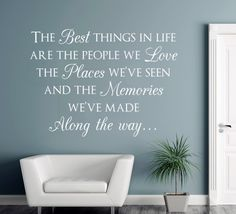 This wall sticker features a lovely sentiment to the best things in life, it's perfect for the family entrance, living room or hallway.  Our wall stickers are precision cut from high quality matt finished ultra-thin vinyl, they look absolutely stunning & appear as though they are painted onto the surface. Variety of colours & sizes: Small - 32cm x 24cm Medium - 56cm x 41cm Large - 63cm x 47cm X-Large - 76cm x 56cm http://www.smartywalls.co.uk/the-best-things-in-life-wall-sticker.html