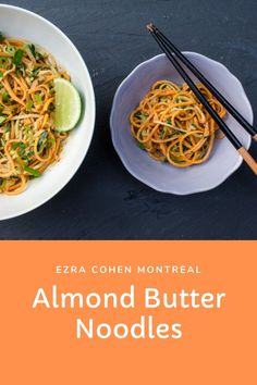There's no limit to the ways to enjoy these versatile almond butter noodles from Ezra Cohen Montreal. The recipe can be combined with your choice of protein and veggies and is great served warm or cold. Spicy Almonds, Roasted Almonds, Buttered Noodles, Baked Tofu, Butter Recipe, Noodle Recipes, Base Foods, Almond Butter, Montreal