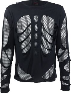 A long-sleeve men's shirt with futuristic cut-out and net application details, by goth clothing brand Queen of Darkness. 100% cotton, black.
