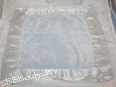 Bebemonde Blue Chenille Soft Plush Baby Security Blanket Lovey Satin Border Boys