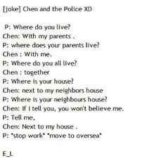 OMG!!!! LOL! I know this is just a joke but nice one, Chen! Such a smartypants! Lol :)