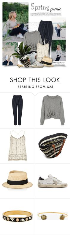 """""""Spring Picnic"""" by thewondersoffashion ❤ liked on Polyvore featuring Topshop, MANGO, River Island, Forever 21, Eugenia Kim, Golden Goose and Henri Bendel"""
