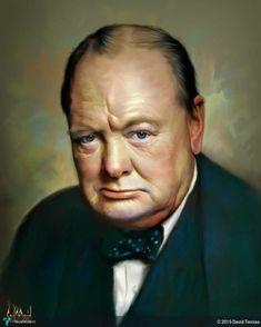 Winston Churchill in Digital Art by David Tercias Digital Portrait, Portrait Art, Digital Art, Painting Portraits, Churchill Paintings, Popular People, Famous People, Bob Marley Art, Winston Churchill