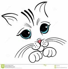 33 New Ideas Tattoo Cat Face Kittens Simple Face Drawing, Cat Face Drawing, Cute Cat Face, Animal Faces, Cat Tattoo, Rock Art, Cat Art, Easy Drawings, Painted Rocks