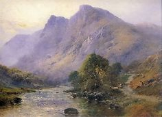 DE BREANSKI Art Print Scottish Shepherd Sheep Morning Highlands Glen Landscape