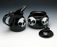 Skull Creamer & Sugar Bowl Set in Black by NicolePangasCeramics