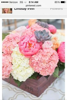 Love the flower box with initials. Bright hydrangea rose succulent bouquet