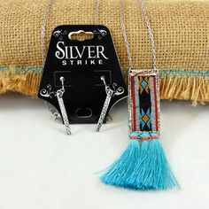 Pendant with Tassel Necklace and Earring Set