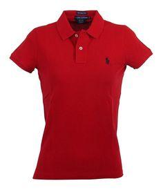 """$54.99 - Ralph Lauren Womens """"The Skinny Polo"""" Polo Shirt - XL - Red #ralphlauren"""