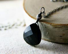 Black Crystal Necklace Crystal Silver Noir on Etsy, $26.00