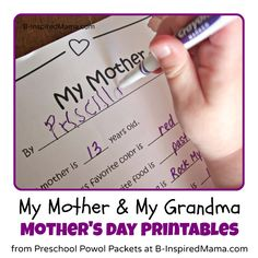 Mothers Day Printable Interviews for Mom & Grandma - B-InspiredMama Mother And Father, Mother Day Gifts, Gifts For Mom, Mothers, Family Gifts, Activities For Kids, Crafts For Kids, Mother's Day Printables, Perfect Mother's Day Gift