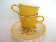 french teacup and saucers | Royal China Yellow Teacup and Saucer Mid Century Cavalier Ironstone ...