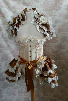 FREE FLOWERS  Copper Silk Tie On Bustle Skirt  and shrug SET Lolita Victorian   By Ophelias Folly