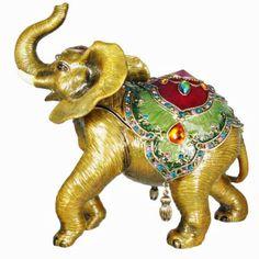 Hand Painted Enamel w Austrian Crystals Elephant Trinket Box