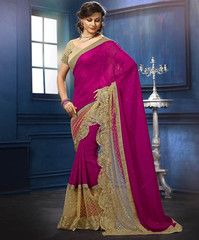 Golden & Pink Color Georgette Festival & Function Sarees : Raisa Collection YF-30645
