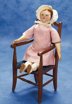 "Very Rare American Cloth Moravian Doll Known as ""Maggie Bessie"" in Original Costume circa 1900"