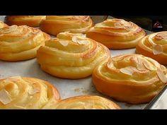 Custard Bread Roll - Soft & Creamy - YouTube Bun Recipe, Rolls Recipe, Bread Bun, Bread Rolls, Custard Buns, Croissants, Bread And Pastries, Sweet Bread, Tray Bakes