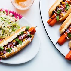 """Grilled Carrot """"Hot Dogs"""" with Tangy Slaw"""
