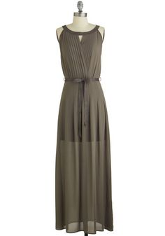 Urban Excursion Dress. Your night out quickly goes from good to grey in this pretty, pleated maxi dress. #gold #prom #modcloth